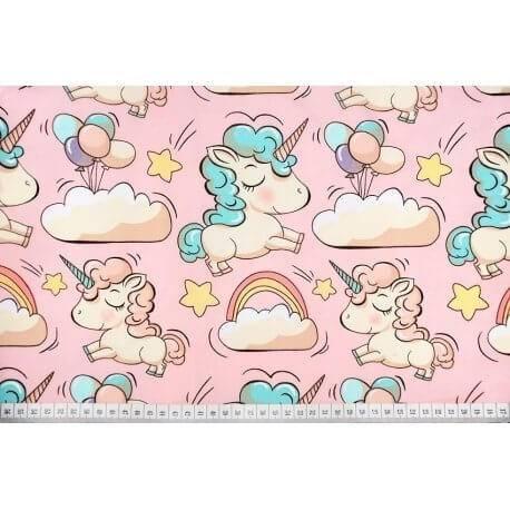 Jednorożce Koniki na różowym - tkanina bawełniana