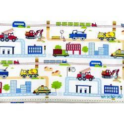 Roboty drogowe, budowa, ulice, budynki - tkanina bawełniana