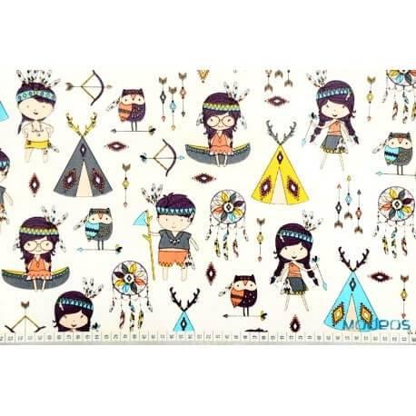 Indianie na ecru - tkanina bawełniana