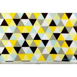 Żółte, czarne trójkąty, mozaika z trójkątów - tkanina bawełniana