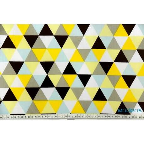 Trojkąty żółte mozaika - tkanina bawełniana