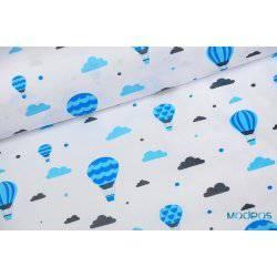 Niebieskie balony, chmurki na białym tle - tkanina bawełniana