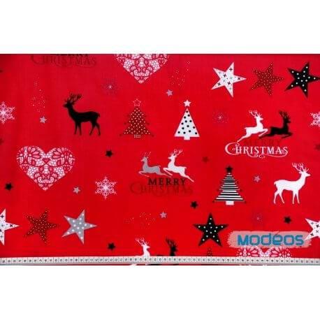 Merry Christmas czerwony - tkanina bawełniana
