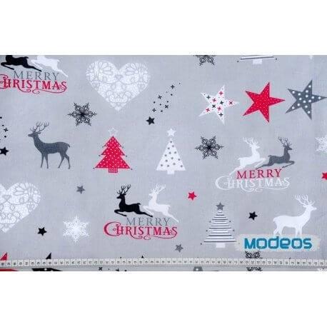 Merry Christmas szary - tkanina bawełniana