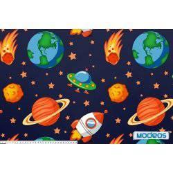 Kosmos na granatowym tle - tkanina bawełniana