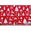 Choinki, bałwanki, renifery na czerwonym tle - tkanina świąteczna