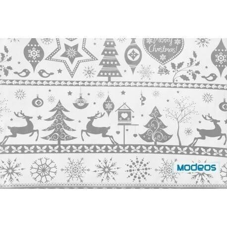 Renifery śnieżynki szare - tkanina bawełniana