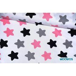 Czarne, różowe, szare pierniki na białym tle - tkanina bawełniana