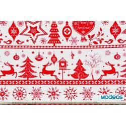Czerwone renifery, choinka na białym tle - tkanina świąteczna