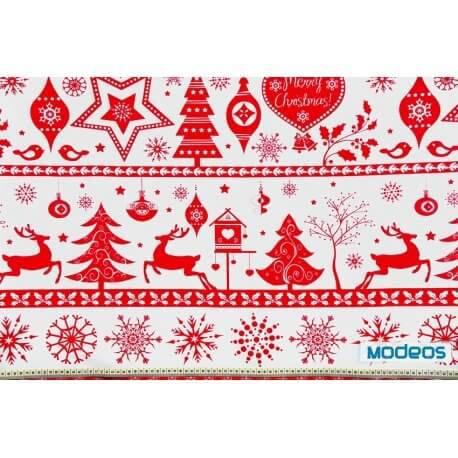 Renifery śnieżynki czerwone - tkanina bawełniana