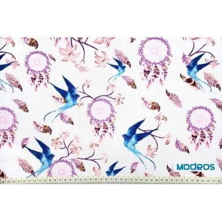 Łapacze snów piórka jaskółki - tkanina bawełniana