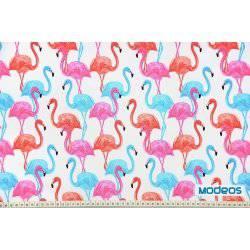 Kolorowe flamingi na białym tle - tkanina bawełniana