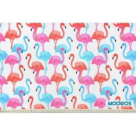 Flamingi na białym tle - tkanina bawełniana