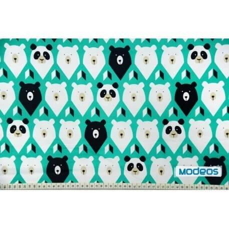 Niedźwiedzie misie na zielonym - tkanina bawełniana