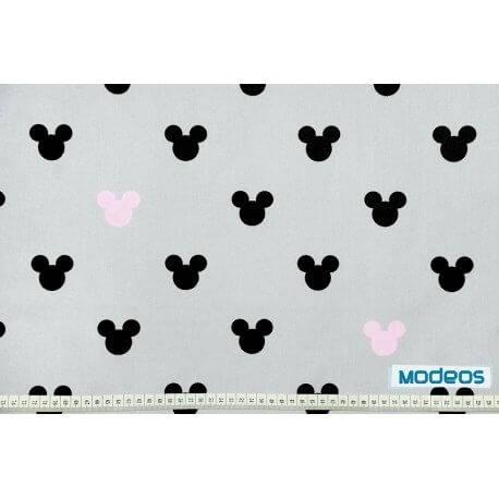 Myszka Miki czarna różowa - tkanina bawełniana
