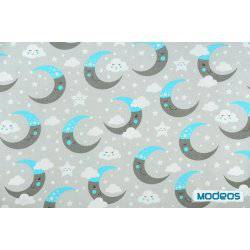 Szaro-niebieskie księżyce na szarym tle - tkanina bawełniana