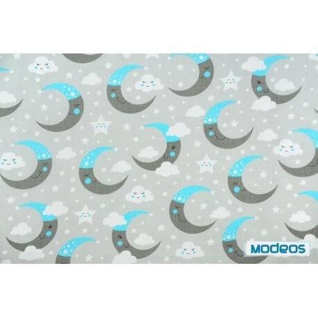 Księżyce chmurki niebieski szary - tkanina bawełniana