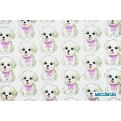 Pieski psy na białym tle - tkanina bawełniana
