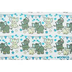 Szare słonie z niebieskimi na białym tle - tkanina bawełniana