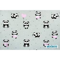 Pandy z różowymi elementami na szarym tle - tkanina bawełniana