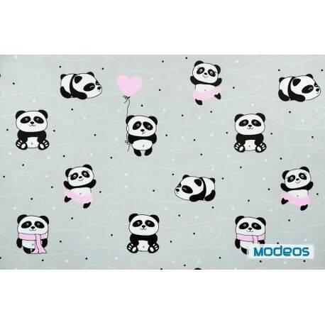 Pandy z różowym na szarym tle - tkanina bawełniana