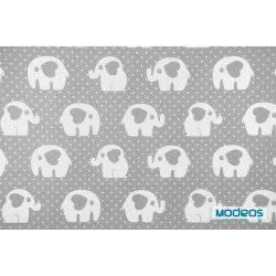 Białe słonie na szarym tle w kropki - tkanina bawełniana