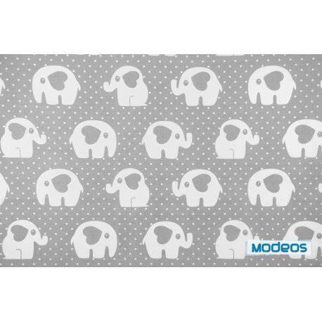 Słonie kropki na szarym tle - tkanina bawełniana