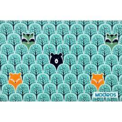 Zwierzęta na tle turkusowego lasu - tkanina bawełniana