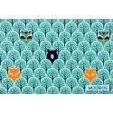 Zwierzęta w lesie turkusowym - tkanina bawełniana a kuku