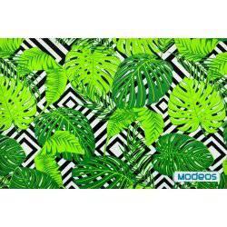 Liście palmy zielone monstera - tkanina bawełniana