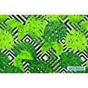 Zielone liście palmy monstera na biało-czarnym tle - tkanina bawełniana