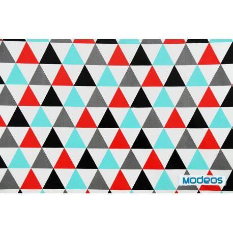 Trójkąty turkusowe czarne mozaika - tkanina bawełniana
