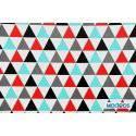 Czerwone, czarne trójkąty, mozaika z trójkątów - tkanina bawełniana
