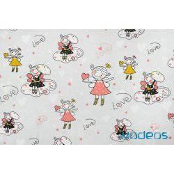 Dziewczynki w serduszka na szarym tle - tkanina bawełniana
