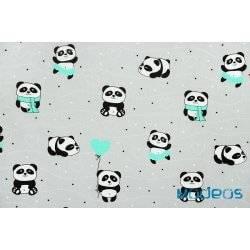 Pandy z miętowym na szarym tle - tkanina bawełniana