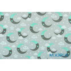 Szaro-miętowe księżyce na szarym tle - tkanina bawełniana