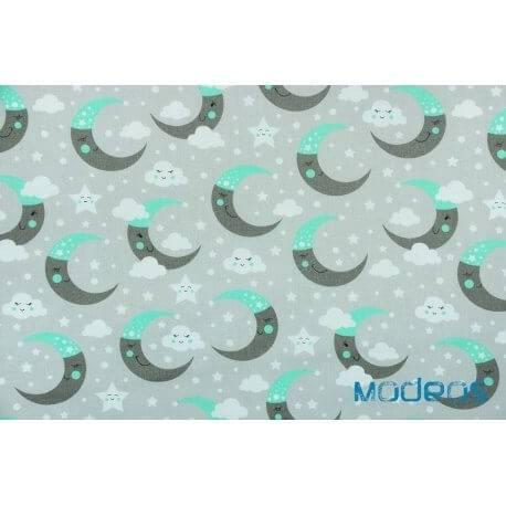 Księżyce chmurki miętowy szary - tkanina bawełniana