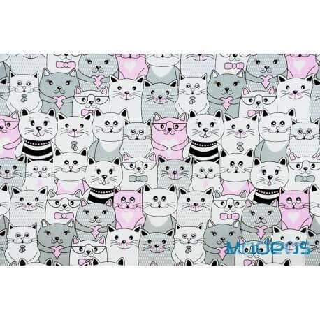 Koty w kinie kotki różowe szare - tkanina bawełniana