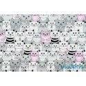 Białe, szare, różowe koty, kotki w kinie - tkanina bawełniana