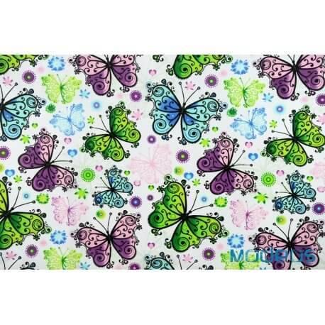 Motyle motylki niebieskie zielone fioletowe - tkanina bawełniana