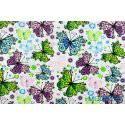 Motyle, motylki niebieskie, zielone, fioletowe - tkanina bawełniana