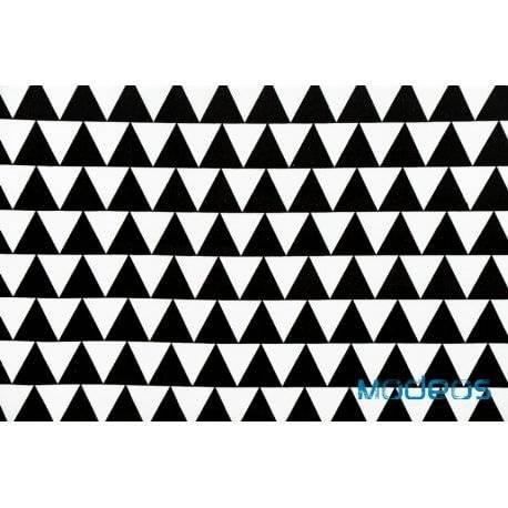 Czarne trójkąty na białym tle - tkanina bawełniana