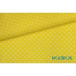 Białe groszki kropki na żółtym tle - tkanina bawełniana