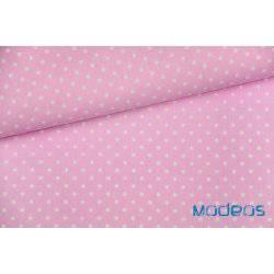 Białe groszki, kropki na różowym tle - tkanina bawełniana