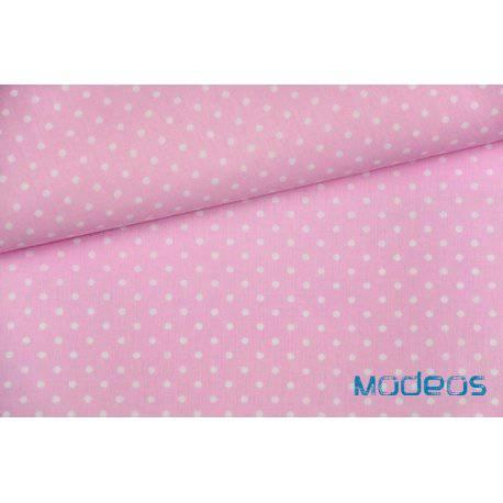Białe groszki kropki na różowym tle - tkanina bawełniana