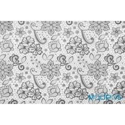 Szara koronka na białym tle - tkanina bawełniana