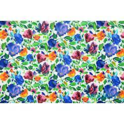 Chabrowe fioletowe kwiaty na białym tle - tkanina bawełniana