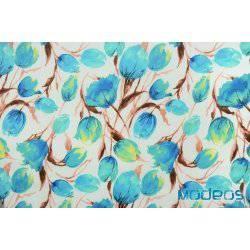 Niebieskie tulipany, kwiaty na białym tle - tkanina bawełniana