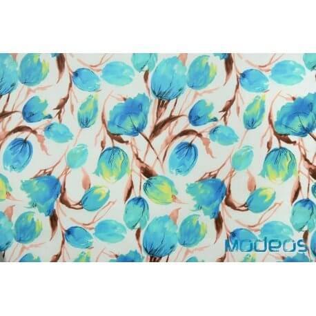 Niebieskie tulipany kwiaty na białym tle - tkanina bawełniana