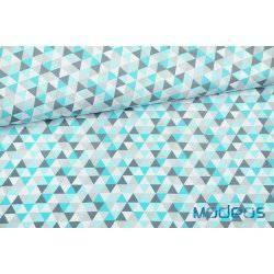 Trójkąty turkusowe niebieskie szare - tkanina bawełniana